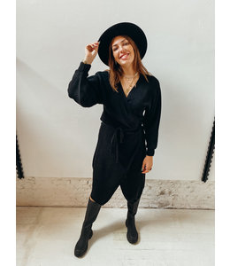 JESSIE WRAP KNIT DRESS - BLACK
