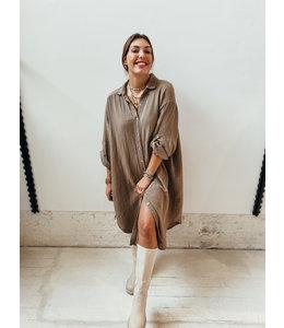 AN MARIA TETRA BLOUSE DRESS - BEIGE