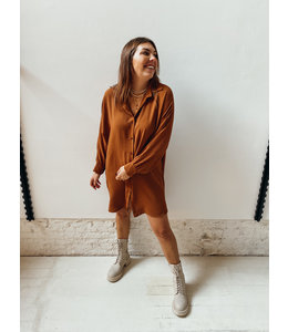 CARA BLOUSE DRESS - BROWN