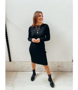 LAURA RIB DRESS - BLACK