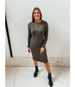 LAURA RIB DRESS - KHAKI