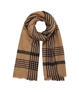 JANIS CHECKED SCARF-  BROWN