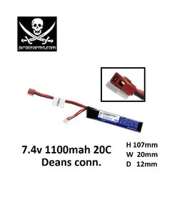 PIRATE ARMS 7.4V 1100mAh Lipo 20C - Stick - Deans