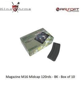 King Arms Magazine M16 Midcap 120rds - BK - Box of 10