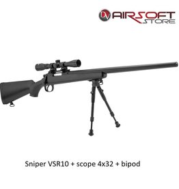 ASG Sniper VSR10 + scope 4x32 + bipod