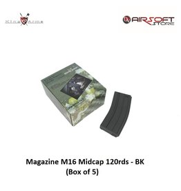 King Arms Magazine M16 Midcap 120rds - BK - Box of 5