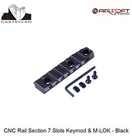 Castellan CNC Rail Section 7 Slots Keymod & M-LOK - Black