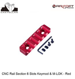 Castellan CNC Rail Section 6 Slots Keymod & M-LOK - Red