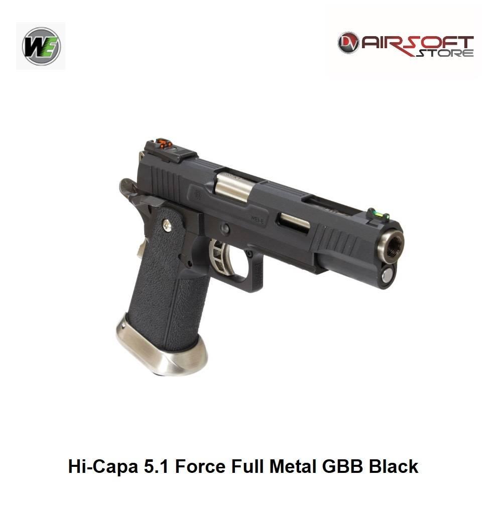 WE Europe Hi-Capa 5.1 Force Full Metal GBB Black