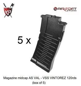 King Arms Magazine midcap AS VAL - VSS VINTOREZ 120rds (box of 5)