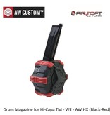 Armorer Works Drum Magazine for Hi-Capa TM - WE - AW HX (Black-Red)