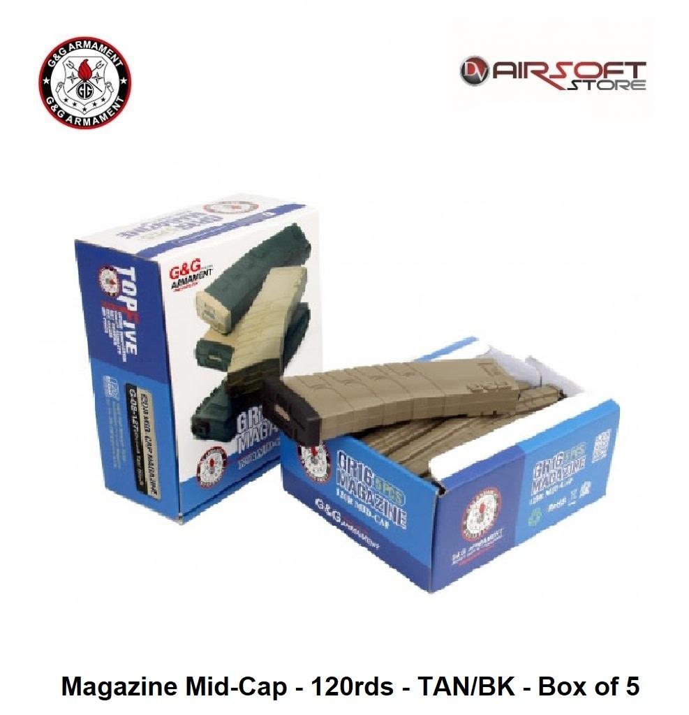 G&G G&G Magazine Mid-Cap - 120rds - TAN/BK - Box of 5