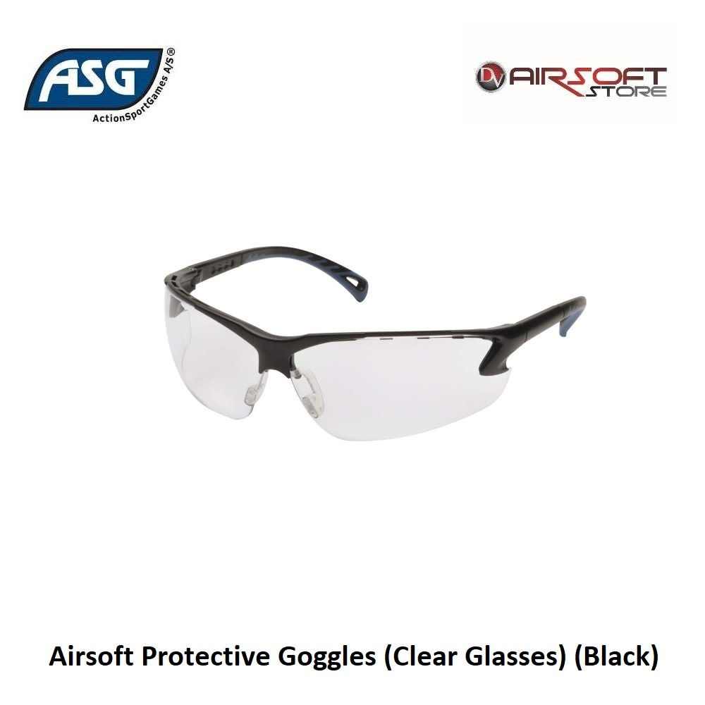 ASG Airsoft Protective Goggles (Clear Glasses) (Black)