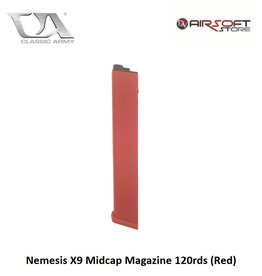 Classic Army Nemesis X9 and ARP 9 Midcap Magazine 120rds (Red)