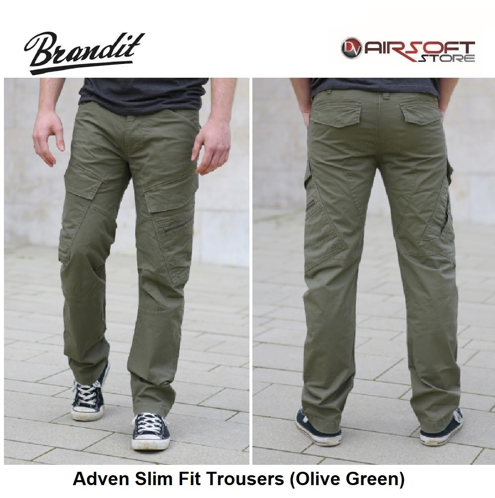 Brandit Adven Slim Fit Trousers (Olive Green)