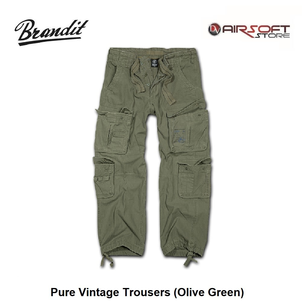 Brandit Pure Vintage Trousers (Olive Green)