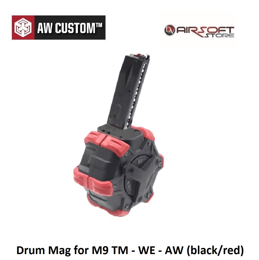 Armorer Works Drum Mag for M9 TM - WE - AW (black/red)