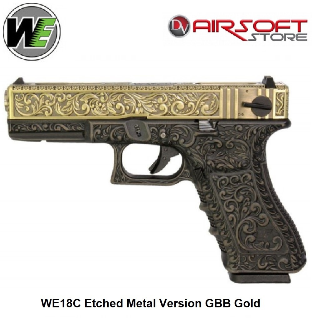WE (Wei Tech) WE18C Etched Metal Version GBB Gold