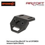 OPSMEN Rail mount Key-Mod 45° for all OPSMEN weapon lights (Black)