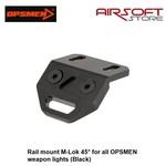 OPSMEN Rail mount M-Lok 45° for all OPSMEN weapon lights (Black)
