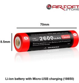 Klarus Li-ion battery with Micro-USB charging (18650)