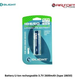Olight Battery Li-Ion rechargeable 3.7V 2600mAh (type 18650)