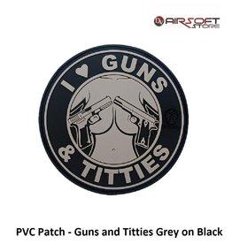 PVC Patch - Guns and Titties Grey on Black