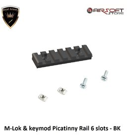 Royal Armory M-Lok & keymod Picatinny Rail 6 slots - BK