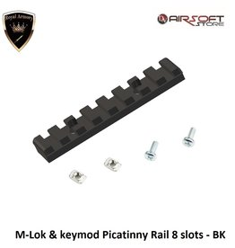 Royal Armory M-Lok & keymod Picatinny Rail 8 slots - BK