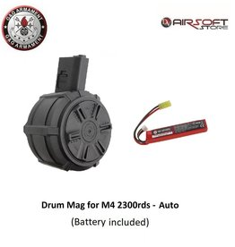 G&G Drum Mag for M4 2300rds - Auto with battery
