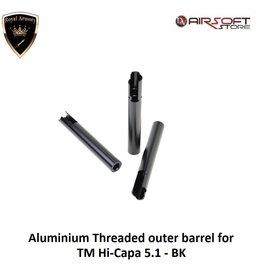 Royal Armory Aluminium Threaded outer barrel for TM Hi-Capa 5.1 - BK