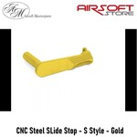 Airsoft Masterpiece CNC Steel SLide Stop - S Style - Gold