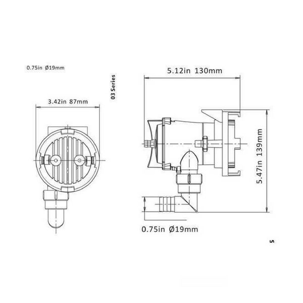 Sea Flo Lenspomp 600 GPH, 12v (2.271 ltr/uur)