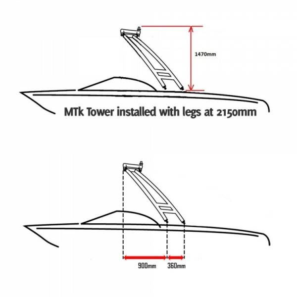 Monster Tower MTK XL Polished and Anodized Forward Facing Wakeboard Tower with Nav Light