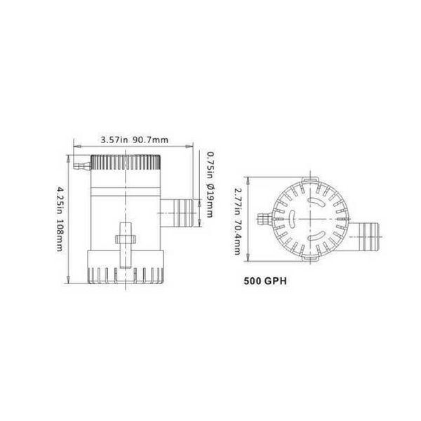 Sea Flo Lenspomp 500 GPH, 12v (1.892 ltr/uur)