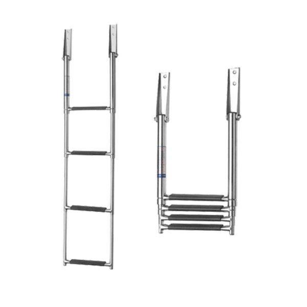Telescopische ladder, RVS 4 treden, breedte: 254 mm.