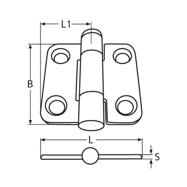 Scharnierend scharnier - gegoten - RVS - 41,5*38*2 mm