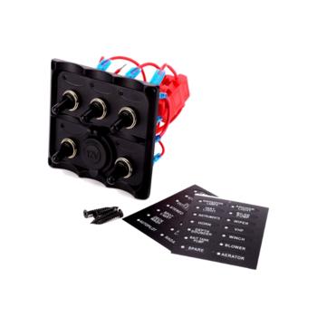 Schakelpaneel 5 schakelaars en 12V stopcontact
