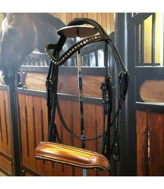Döbert Bar and bar bridle Black, Cognac noseband