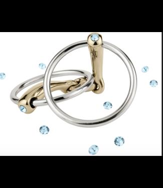 Sprenger Dynamic RS Loose ring snaffle 16mm/135cm met blauwe crystal
