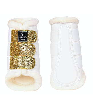 SD GLITTER TENDON BOOTS IN WHITE/GOLD