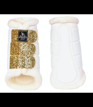 SD SD® GLITTER TENDON BOOTS IN WHITE/GOLD Set per 4