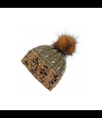 Le Mieux Colorado Pom Pom Beanie Hat Khaki