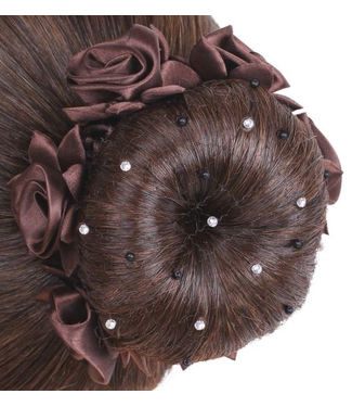 SD Hairnet With Black Pearls and Crystal Beads
