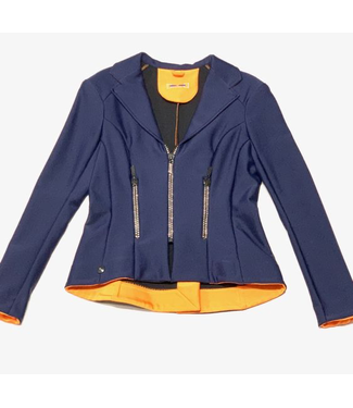 Deserata Zip Jacket Navy + White Crystals