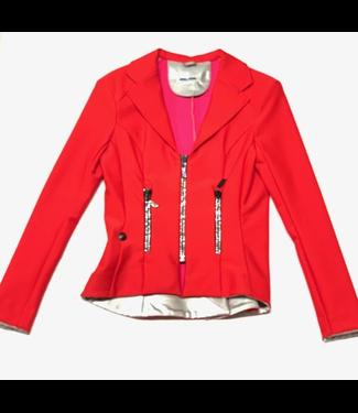 Deserata Zip Jacket Red + White Crystals 38