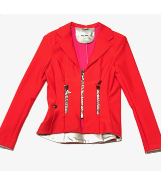 Deserata Zip Jacket Red + White Crystals