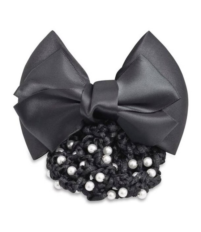 SD Satin Hairbow with Pearls on the net, Black