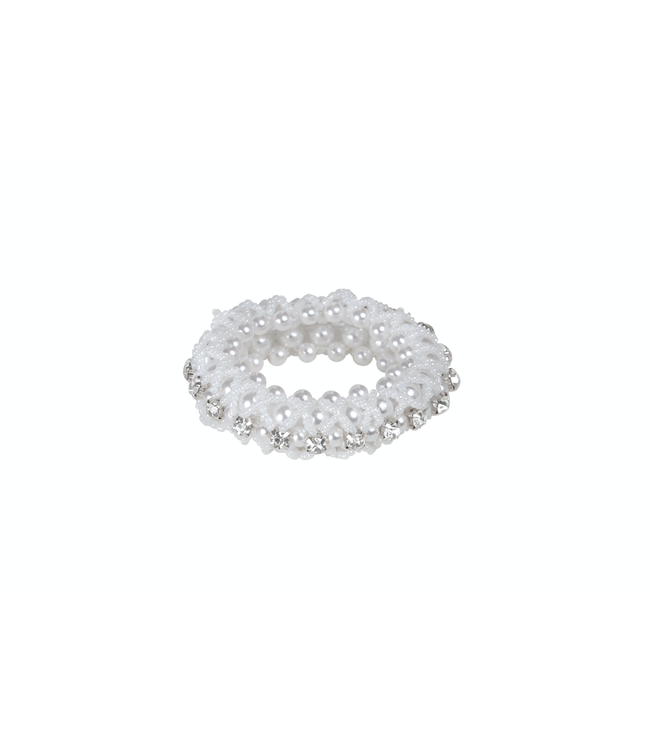 SD Crystal & Pearl Scrunchie in White