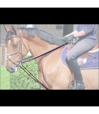 Dy'on Working Leather/ Rope Draw Reins Black Cob